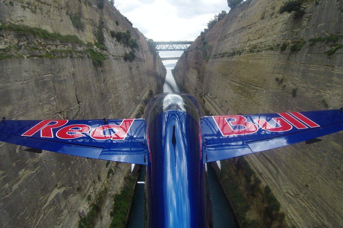 Pilot Péter Besenyei squeezes his Corvus Racer along Greece's Corinth Canal.