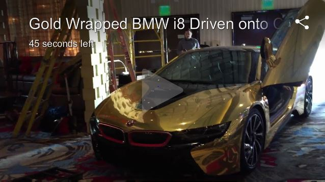 Golden Bmw At The Cosmopolitan Of Las Vegas Speedvegas